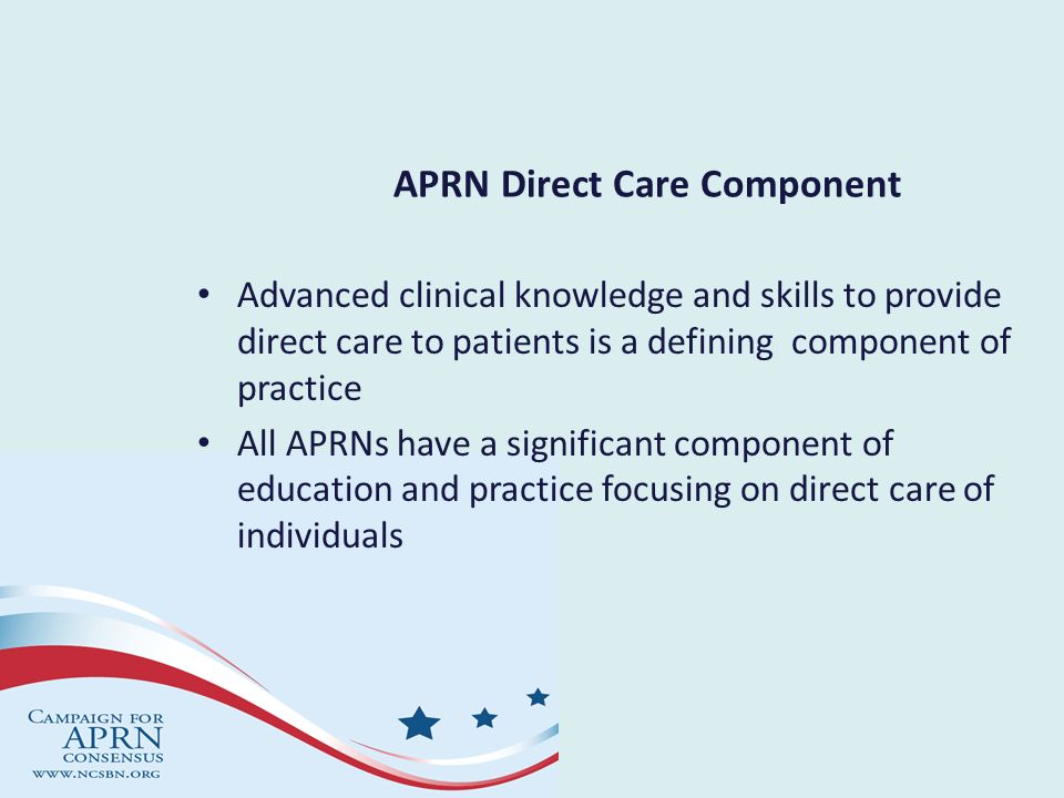 APRN Direct Care Component Advanced clinical knowledge and skills to provide direct care to patients is a defining component of practice All APRNs hav