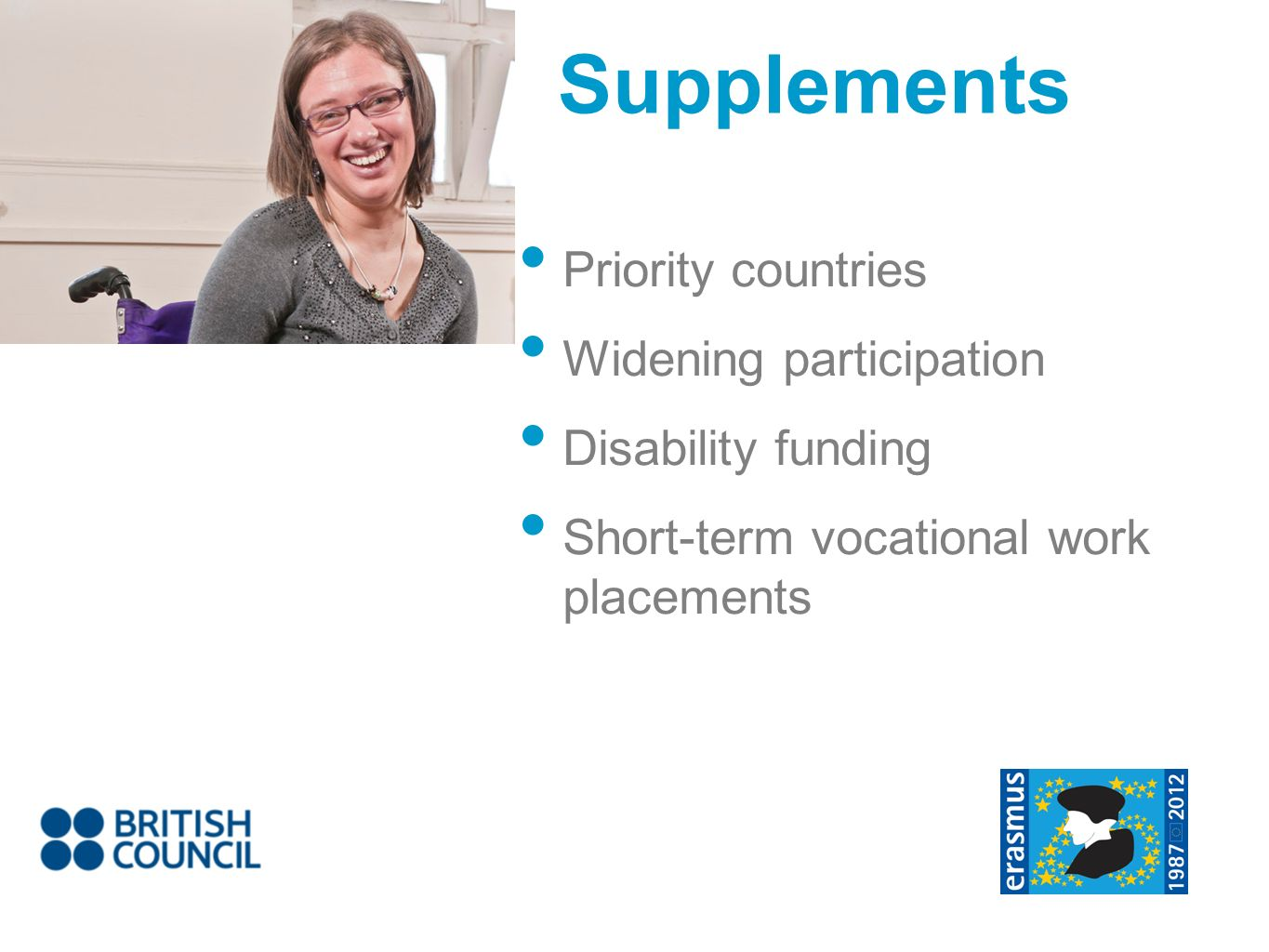 Supplements Priority countries Widening participation Disability funding Short-term vocational work placements