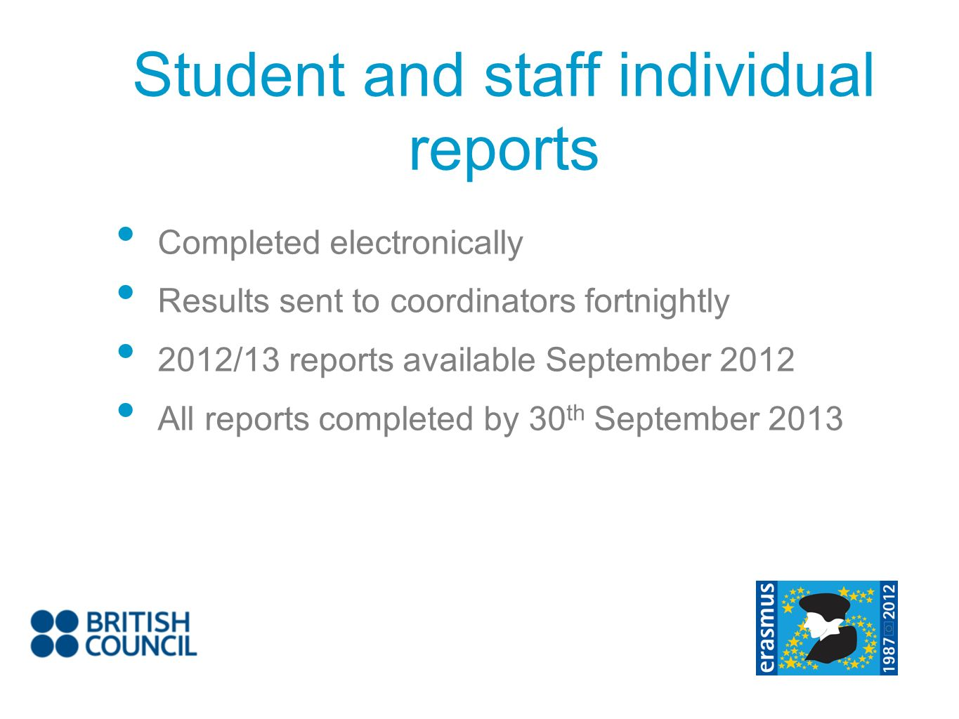 Completed electronically Results sent to coordinators fortnightly 2012/13 reports available September 2012 All reports completed by 30 th September 20