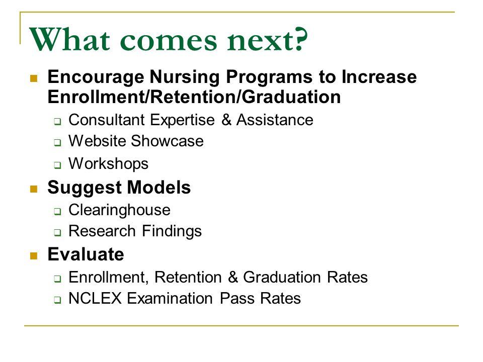 What comes next? Encourage Nursing Programs to Increase Enrollment/Retention/Graduation Consultant Expertise & Assistance Website Showcase Workshops S