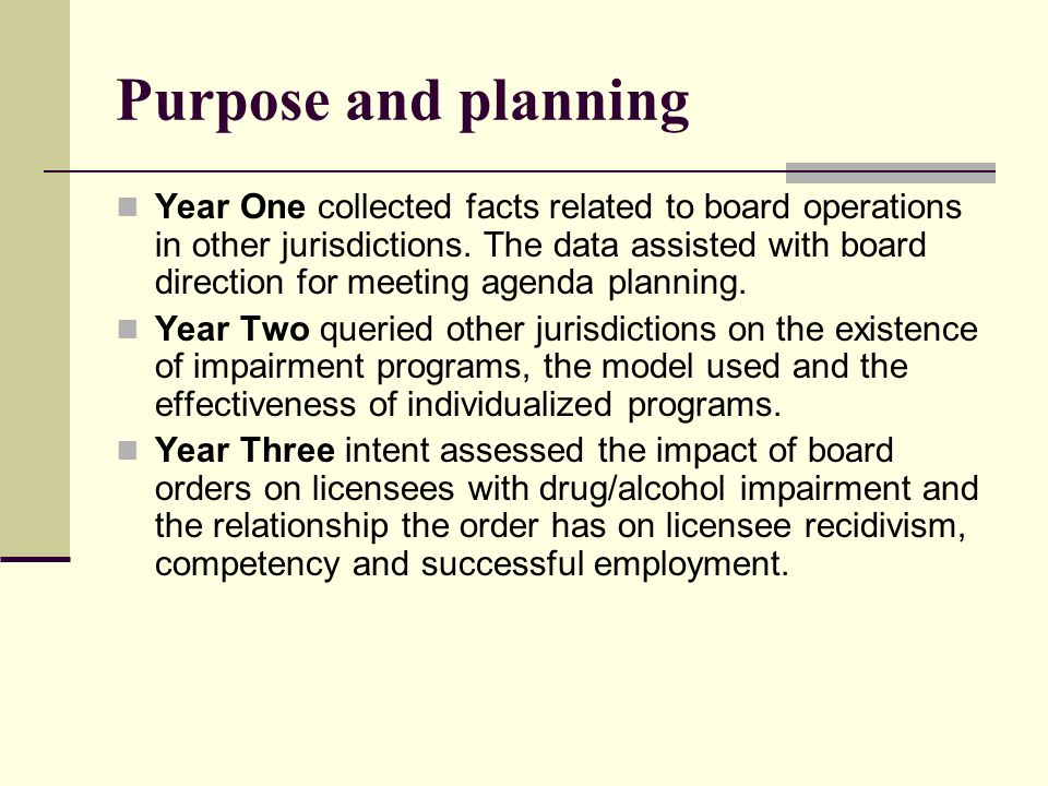 Purpose and planning Year One collected facts related to board operations in other jurisdictions. The data assisted with board direction for meeting a