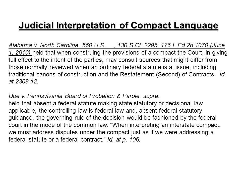 Judicial Interpretation of Compact Language Alabama v.