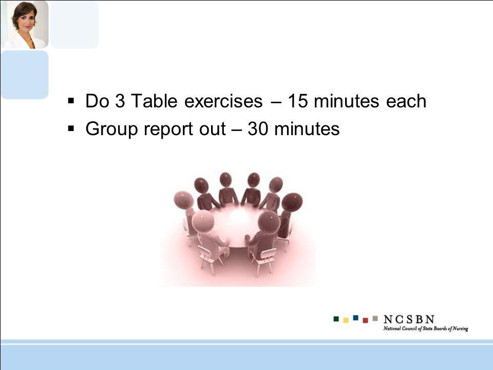 Do 3 Table exercises – 15 minutes each Group report out – 30 minutes