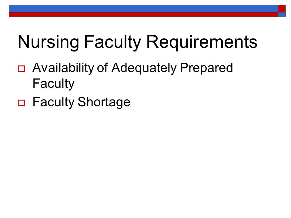 Nursing Faculty Requirements Availability of Adequately Prepared Faculty Faculty Shortage