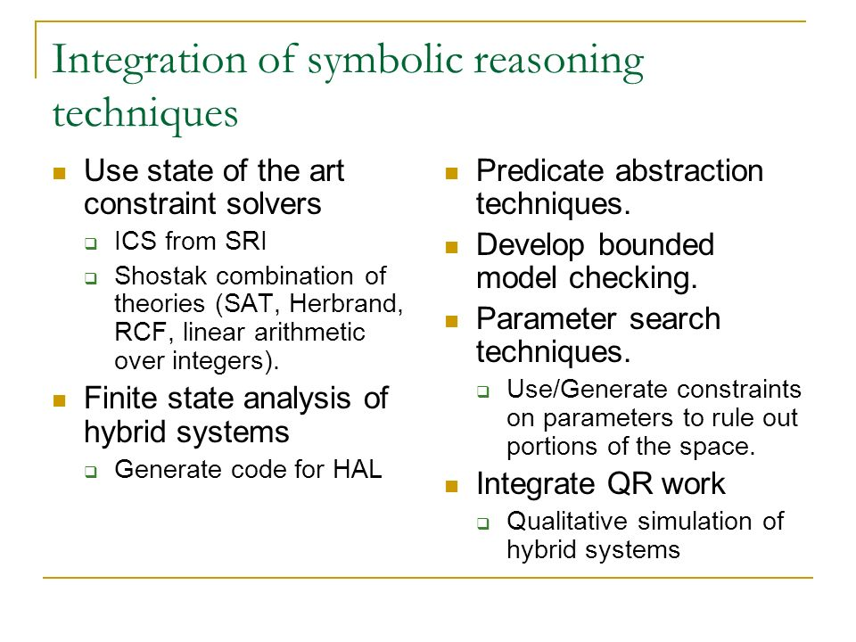 Integration of symbolic reasoning techniques Use state of the art constraint solvers ICS from SRI Shostak combination of theories (SAT, Herbrand, RCF,