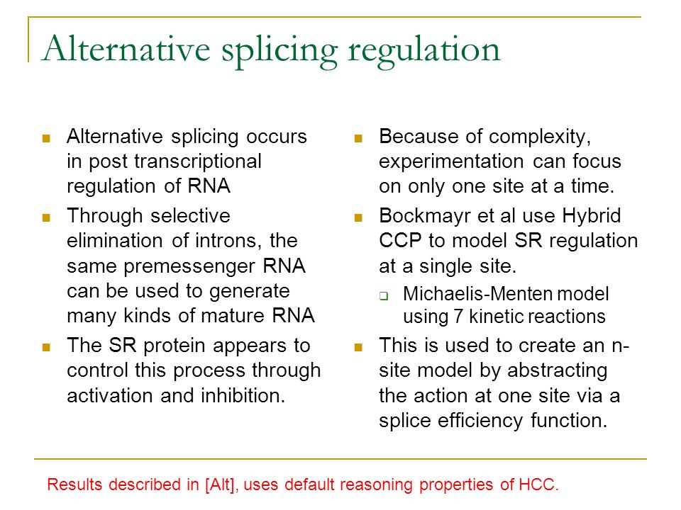 Alternative splicing regulation Alternative splicing occurs in post transcriptional regulation of RNA Through selective elimination of introns, the sa