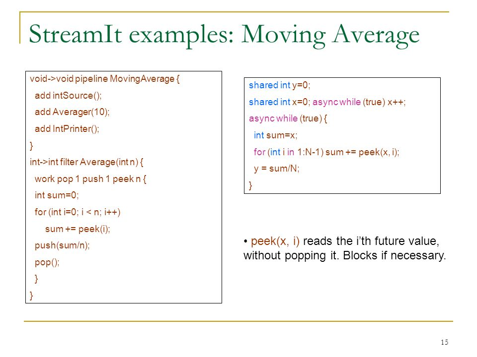 15 StreamIt examples: Moving Average void->void pipeline MovingAverage { add intSource(); add Averager(10); add IntPrinter(); } int->int filter Average(int n) { work pop 1 push 1 peek n { int sum=0; for (int i=0; i < n; i++) sum += peek(i); push(sum/n); pop(); } shared int y=0; shared int x=0; async while (true) x++; async while (true) { int sum=x; for (int i in 1:N-1) sum += peek(x, i); y = sum/N; } peek(x, i) reads the ith future value, without popping it.