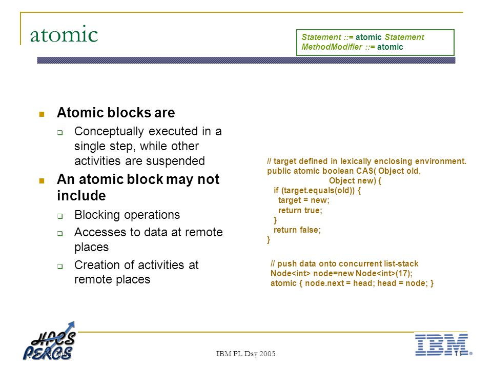 July 23, 2003 IBM PL Day 2005 11 atomic Atomic blocks are Conceptually executed in a single step, while other activities are suspended An atomic block may not include Blocking operations Accesses to data at remote places Creation of activities at remote places // push data onto concurrent list-stack Node node=new Node (17); atomic { node.next = head; head = node; } // target defined in lexically enclosing environment.