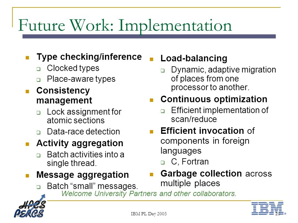 July 23, 2003 IBM PL Day 2005 20 Future Work: Implementation Type checking/inference Clocked types Place-aware types Consistency management Lock assignment for atomic sections Data-race detection Activity aggregation Batch activities into a single thread.