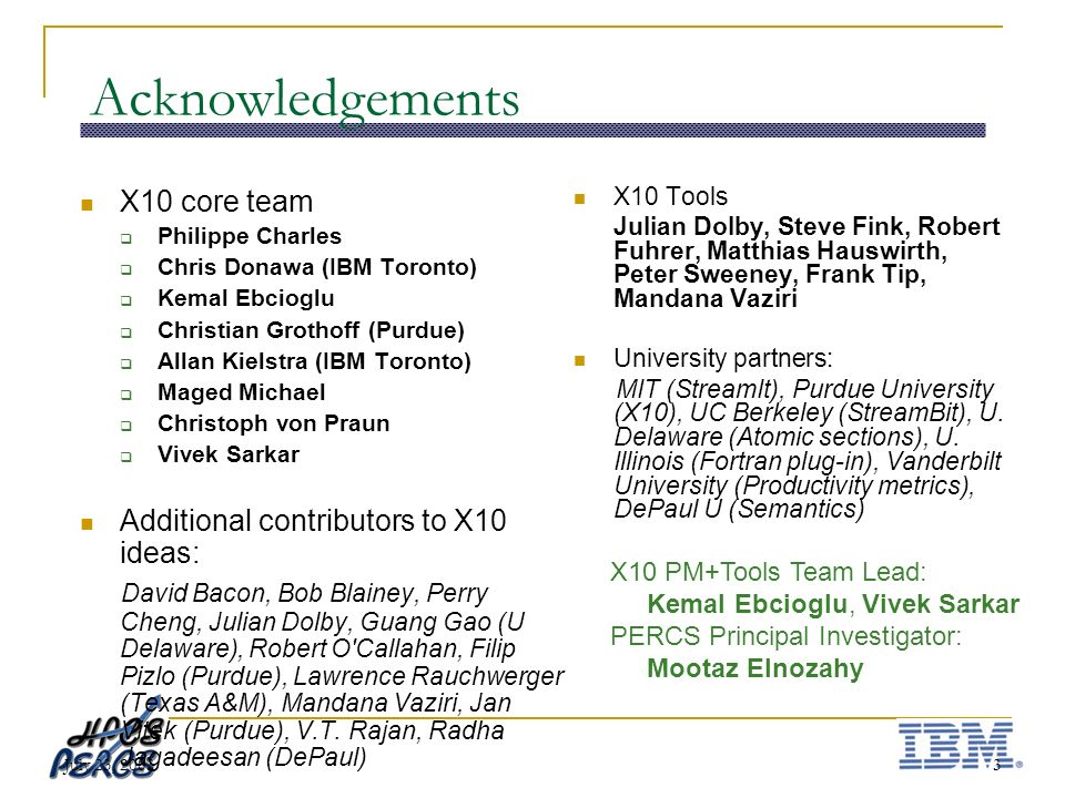 July 23, 20033 Acknowledgements X10 Tools Julian Dolby, Steve Fink, Robert Fuhrer, Matthias Hauswirth, Peter Sweeney, Frank Tip, Mandana Vaziri University partners: MIT (StreamIt), Purdue University (X10), UC Berkeley (StreamBit), U.