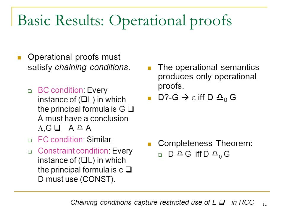 11 Basic Results: Operational proofs Operational proofs must satisfy chaining conditions.