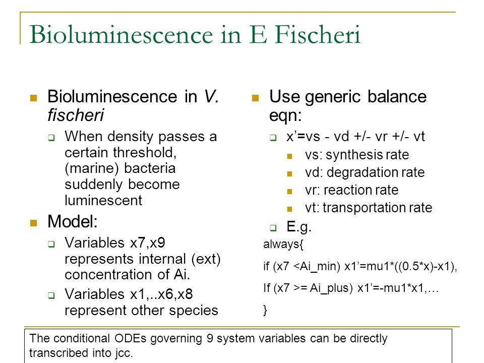 Bioluminescence in E Fischeri Bioluminescence in V. fischeri When density passes a certain threshold, (marine) bacteria suddenly become luminescent Mo