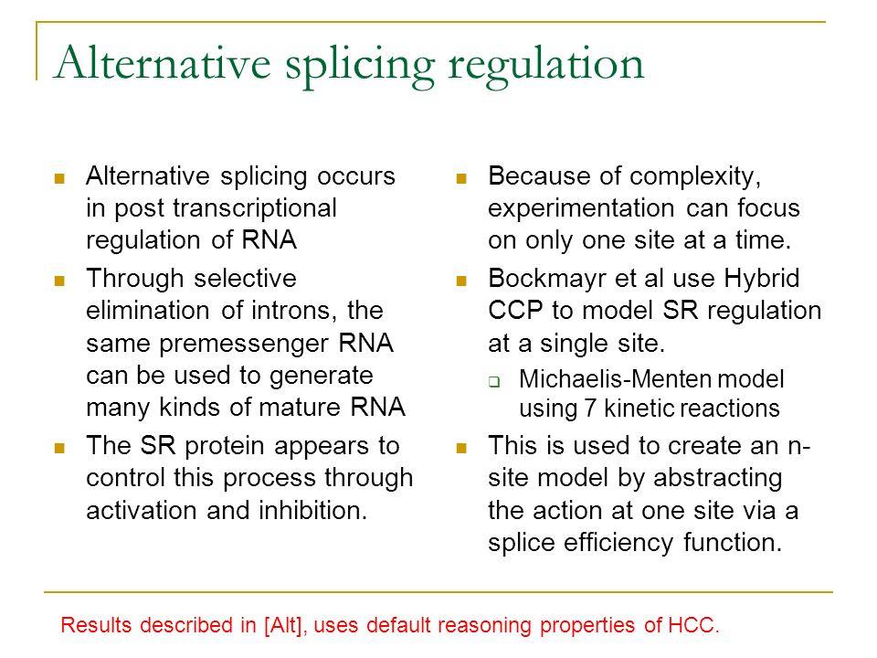 Alternative splicing regulation Alternative splicing occurs in post transcriptional regulation of RNA Through selective elimination of introns, the sa
