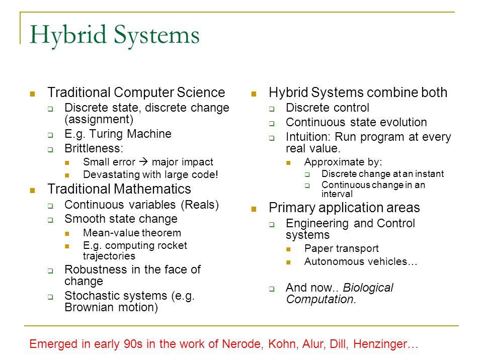 Hybrid Systems Traditional Computer Science Discrete state, discrete change (assignment) E.g. Turing Machine Brittleness: Small error major impact Dev