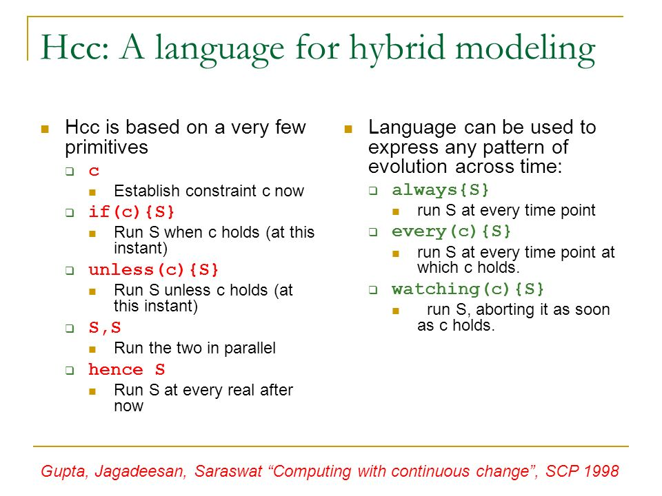 Hcc: A language for hybrid modeling Hcc is based on a very few primitives c Establish constraint c now if(c){S} Run S when c holds (at this instant) unless(c){S} Run S unless c holds (at this instant) S,S Run the two in parallel hence S Run S at every real after now Language can be used to express any pattern of evolution across time: always{S} run S at every time point every(c){S} run S at every time point at which c holds.