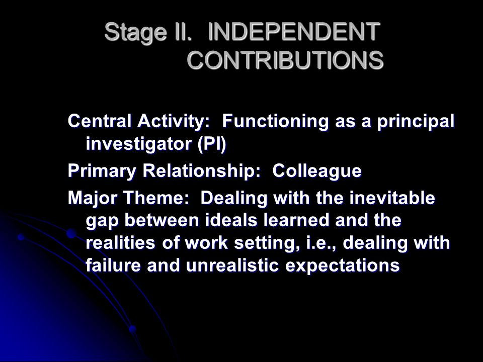 Stage II. INDEPENDENT CONTRIBUTIONS Central Activity: Functioning as a principal investigator (PI) Primary Relationship: Colleague Major Theme: Dealin