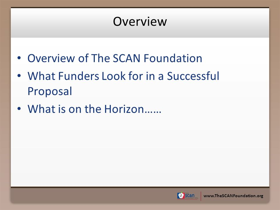 www.TheSCANFoundation.org Overview Overview of The SCAN Foundation What Funders Look for in a Successful Proposal What is on the Horizon……
