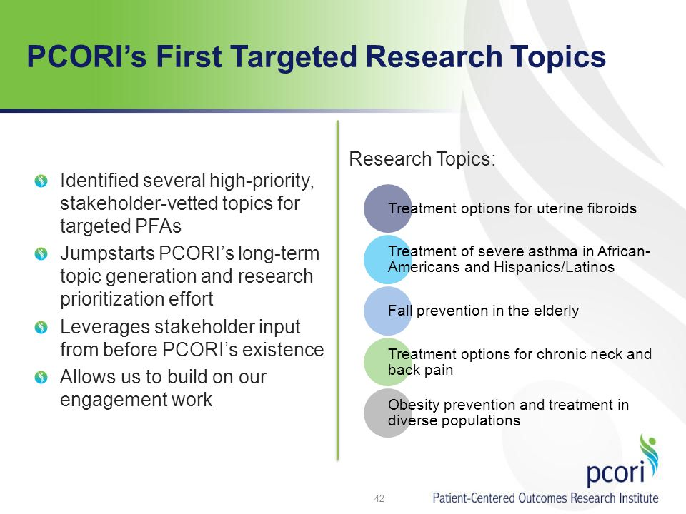 PCORIs First Targeted Research Topics Identified several high-priority, stakeholder-vetted topics for targeted PFAs Jumpstarts PCORIs long-term topic