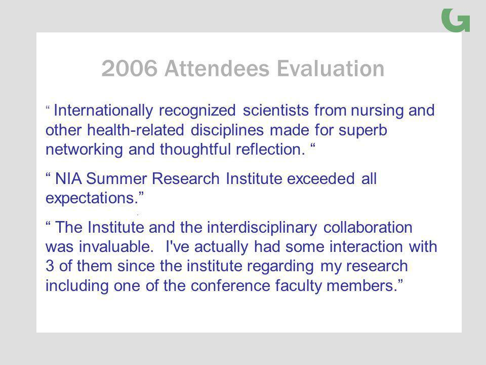 2006 Attendees Evaluation Internationally recognized scientists from nursing and other health-related disciplines made for superb networking and thoughtful reflection.
