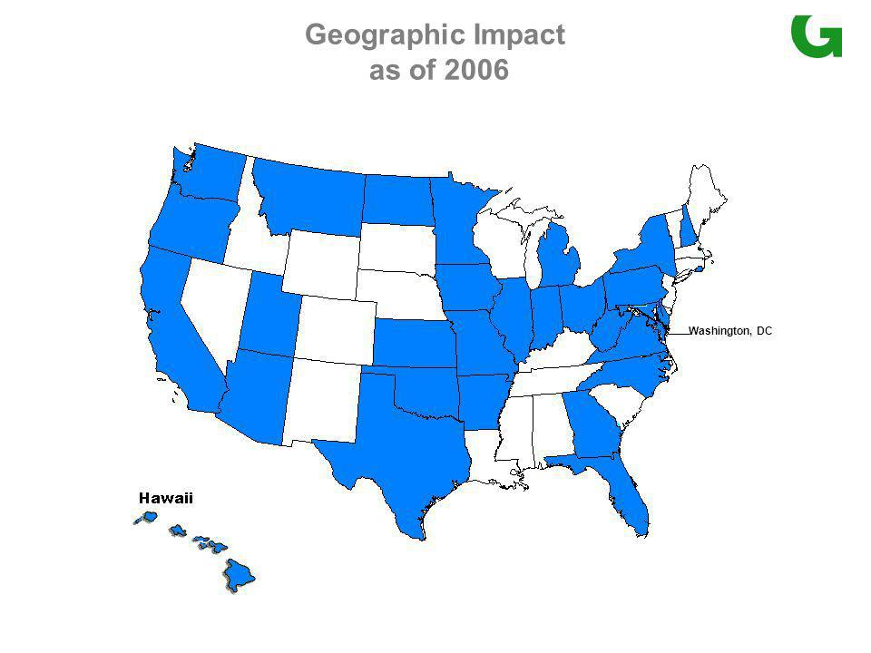 Geographic Impact as of 2006 Washington, DC
