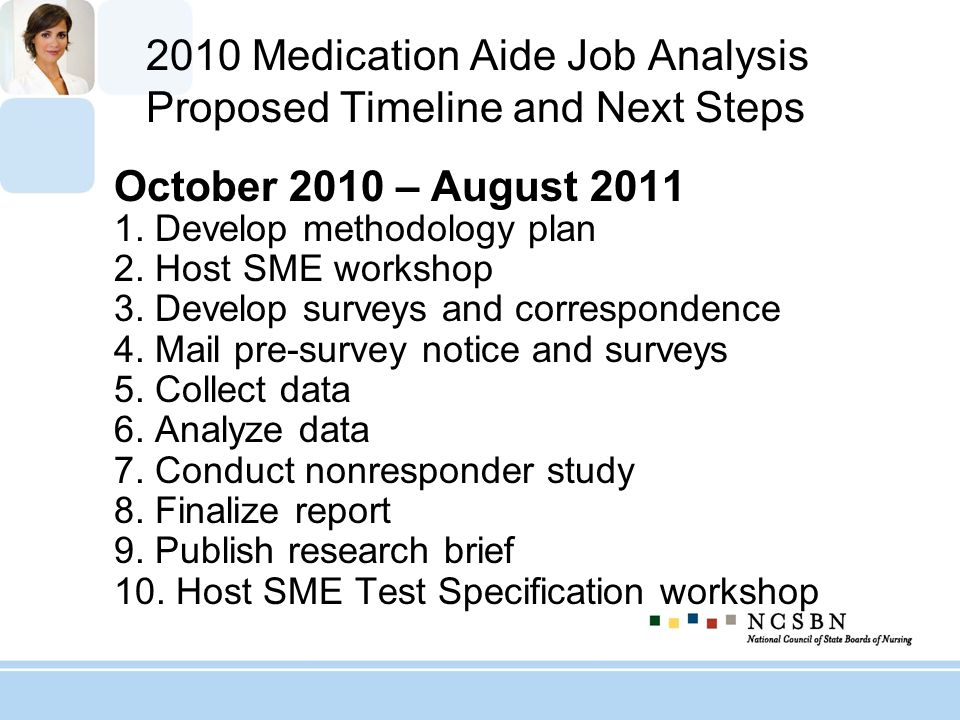 2010 Medication Aide Job Analysis Proposed Timeline and Next Steps October 2010 – August 2011 1. Develop methodology plan 2. Host SME workshop 3. Deve