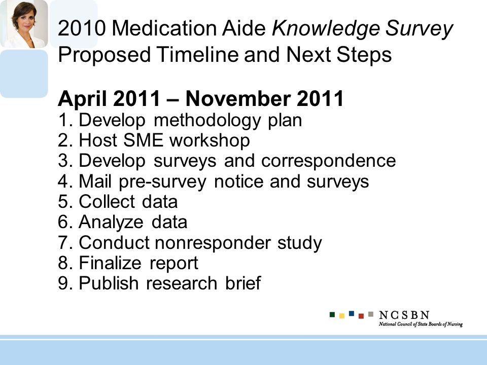 2010 Medication Aide Knowledge Survey Proposed Timeline and Next Steps April 2011 – November 2011 1. Develop methodology plan 2. Host SME workshop 3.