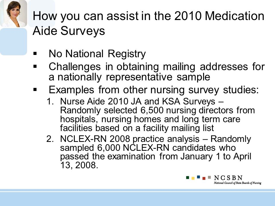 How you can assist in the 2010 Medication Aide Surveys No National Registry Challenges in obtaining mailing addresses for a nationally representative