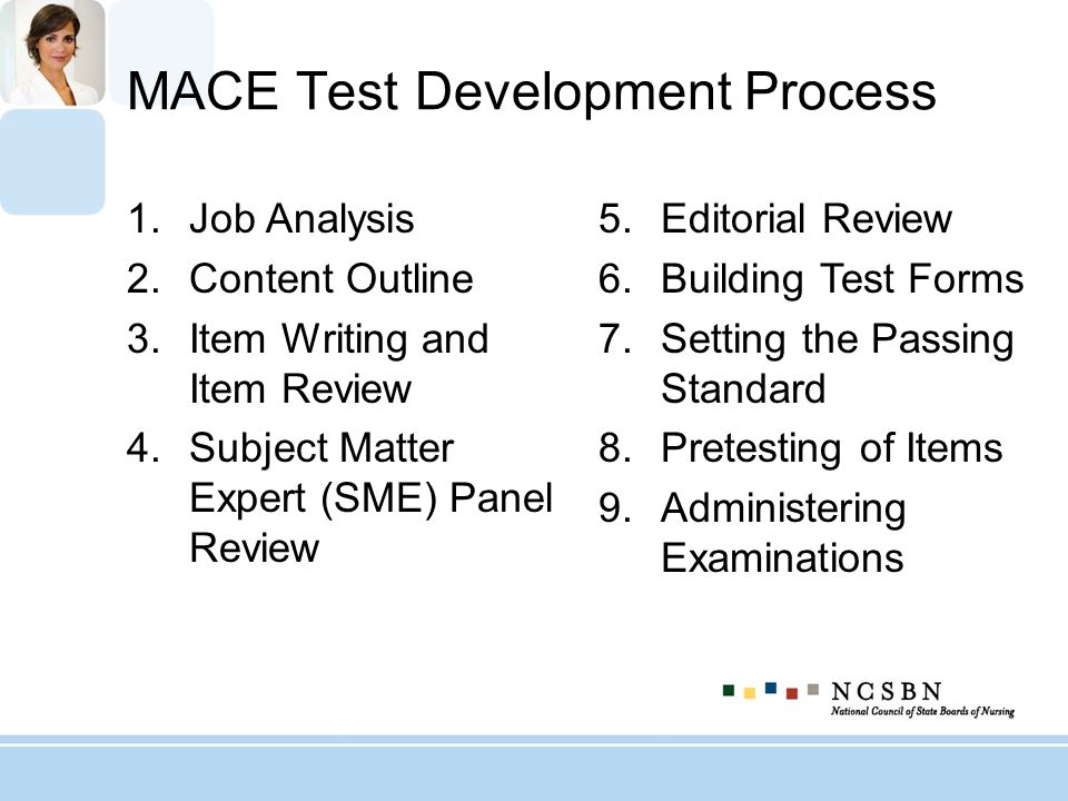 MACE Test Development Process 1.Job Analysis 2.Content Outline 3.Item Writing and Item Review 4.Subject Matter Expert (SME) Panel Review 5.Editorial R