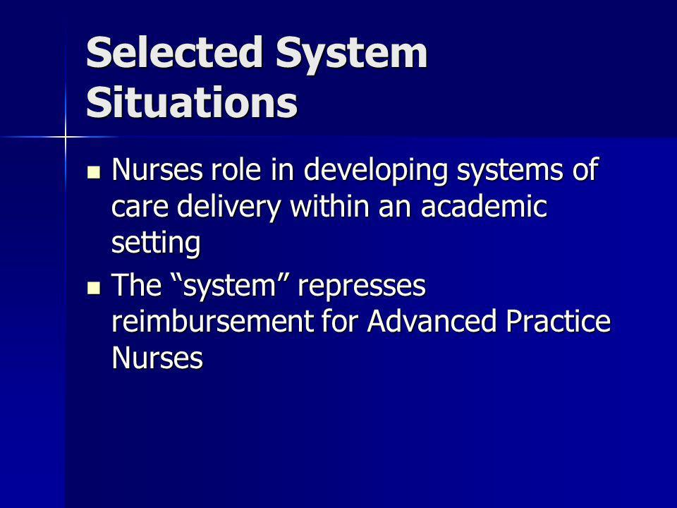 Selected System Situations Nurses role in developing systems of care delivery within an academic setting Nurses role in developing systems of care del