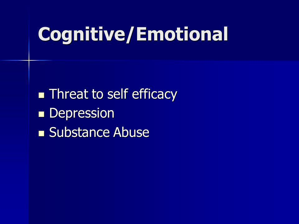 Cognitive/Emotional Threat to self efficacy Threat to self efficacy Depression Depression Substance Abuse Substance Abuse