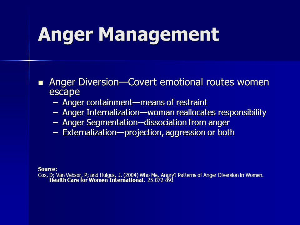 Anger Management Anger DiversionCovert emotional routes women escape Anger DiversionCovert emotional routes women escape –Anger containmentmeans of re