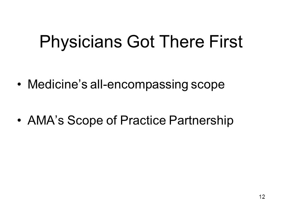 Physicians Got There First Medicines all-encompassing scope AMAs Scope of Practice Partnership 12
