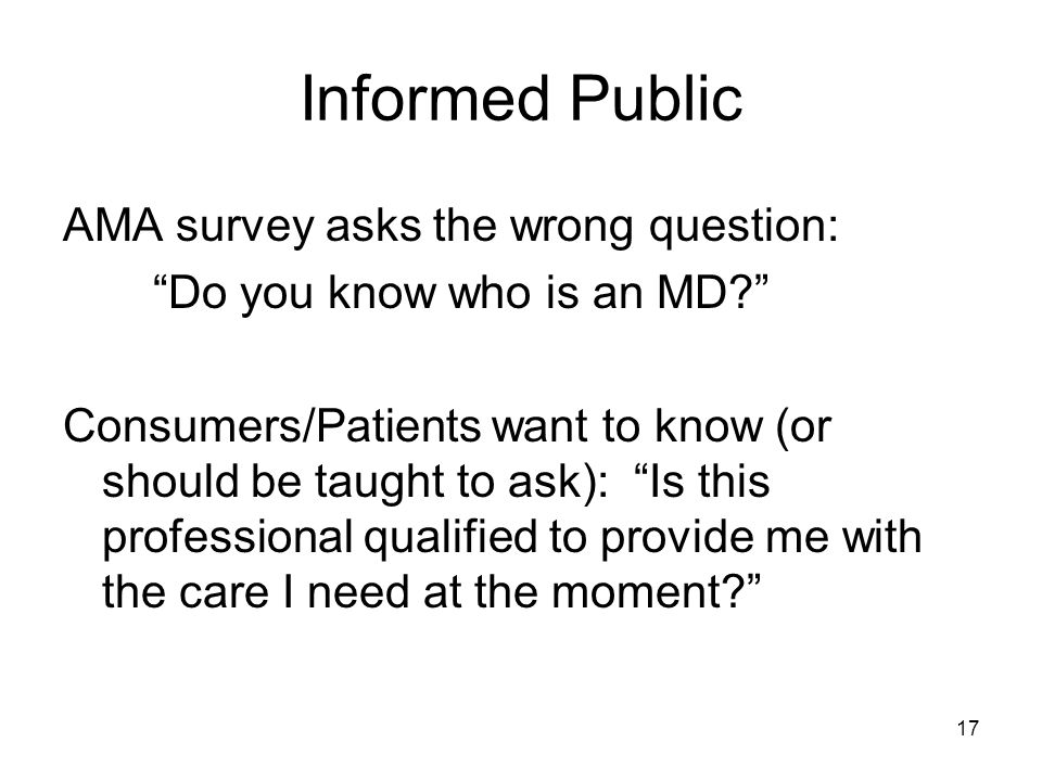 Informed Public AMA survey asks the wrong question: Do you know who is an MD.