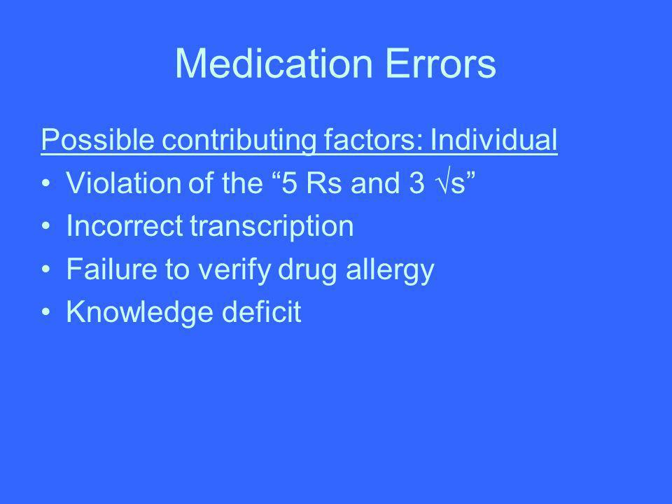 Medication Errors Possible contributing factors: Individual Violation of the 5 Rs and 3 s Incorrect transcription Failure to verify drug allergy Knowl