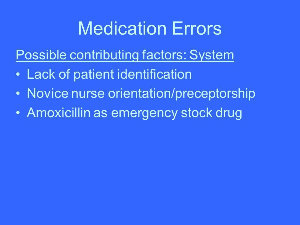 Medication Errors Possible contributing factors: System Lack of patient identification Novice nurse orientation/preceptorship Amoxicillin as emergency
