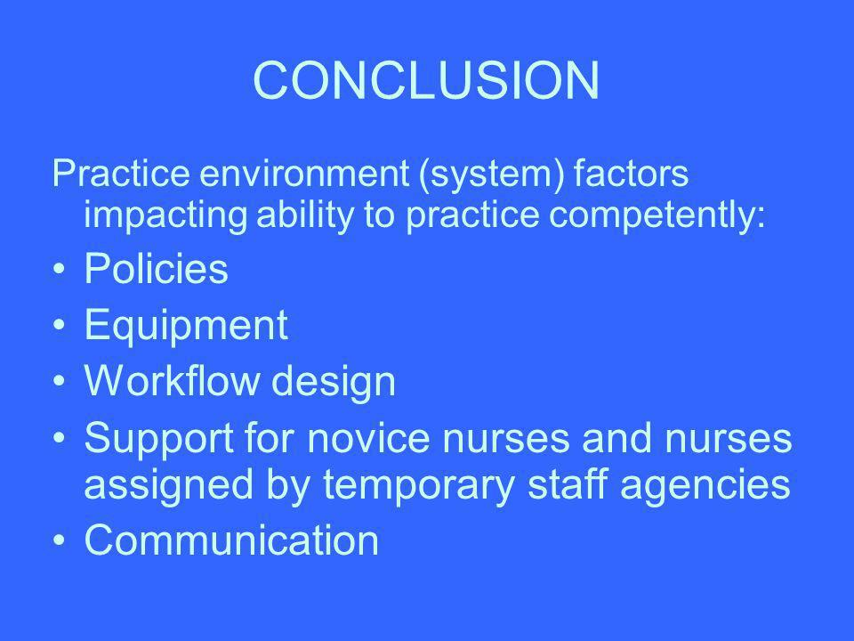 CONCLUSION Practice environment (system) factors impacting ability to practice competently: Policies Equipment Workflow design Support for novice nurs