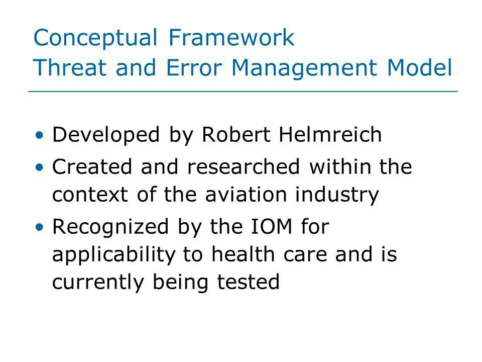 Conceptual Framework Threat and Error Management Model Developed by Robert Helmreich Created and researched within the context of the aviation industr
