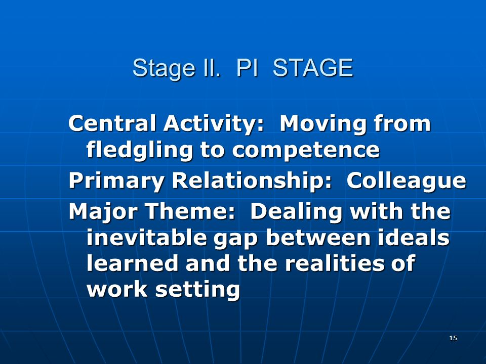 15 Stage II. PI STAGE Central Activity: Moving from fledgling to competence Primary Relationship: Colleague Major Theme: Dealing with the inevitable g