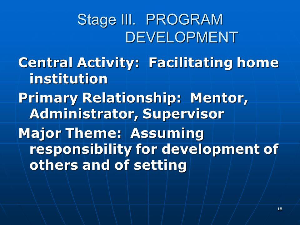 18 Stage III. PROGRAM DEVELOPMENT Central Activity: Facilitating home institution Primary Relationship: Mentor, Administrator, Supervisor Major Theme: