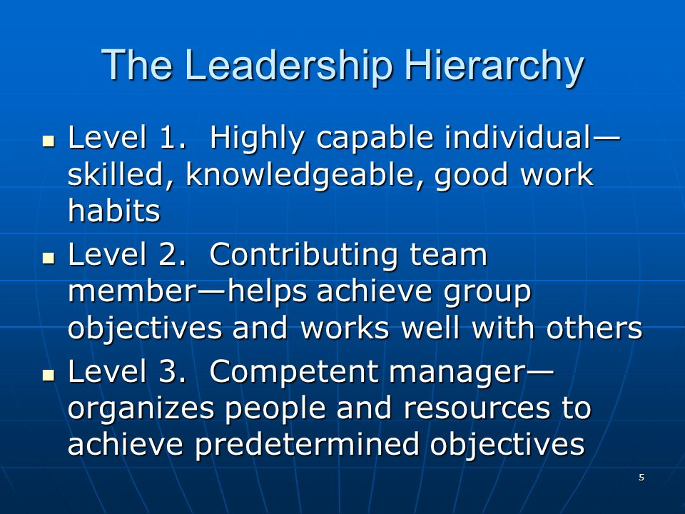 5 The Leadership Hierarchy Level 1.