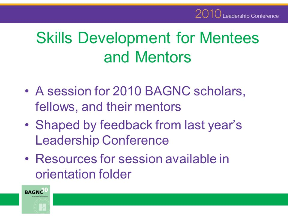 Skills Development for Mentees and Mentors A session for 2010 BAGNC scholars, fellows, and their mentors Shaped by feedback from last years Leadership Conference Resources for session available in orientation folder