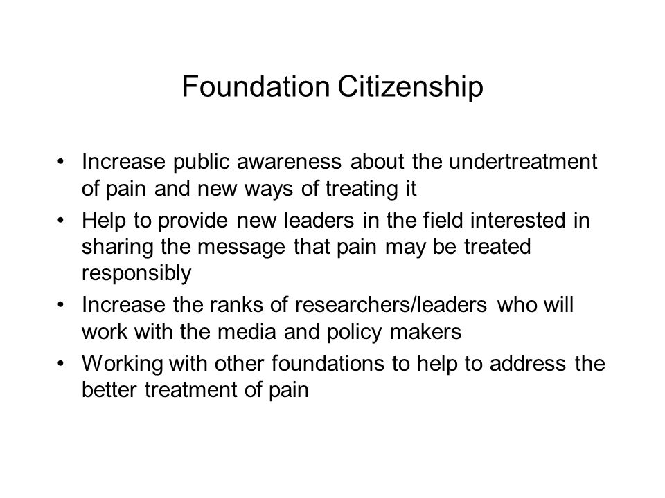 Foundation Citizenship Increase public awareness about the undertreatment of pain and new ways of treating it Help to provide new leaders in the field interested in sharing the message that pain may be treated responsibly Increase the ranks of researchers/leaders who will work with the media and policy makers Working with other foundations to help to address the better treatment of pain
