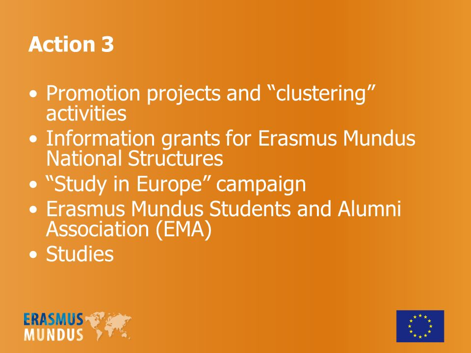 Promotion projects and clustering activities Information grants for Erasmus Mundus National Structures Study in Europe campaign Erasmus Mundus Students and Alumni Association (EMA) Studies