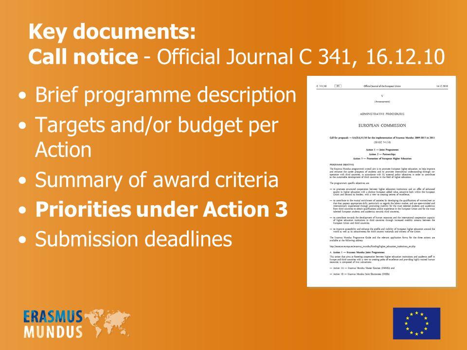 7 ERASMUS MUNDUS ON EACEA WEBSITE Programme Guide Calls for proposals.