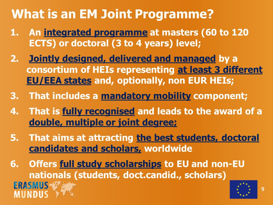EMJD fellowships Contribution to EMJD running costs 50 000 / EMJD edition (/cohort) 3 years Doctoral Fellowship Category ACategory B I Travel, installation and other personal costs 7 500 3 000 (if mobility to a third- Country partner) II EMJD participation costs 300 per month ( 10 800 for 36 months) for non-laboratory-based EMJDs or 600 per month ( 21 600 for 36 months) for laboratory-based EMJDs III Fixed living allowance (36 months in total) 2 800 per month (i.e.