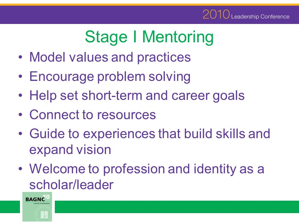 Stage I Mentoring Model values and practices Encourage problem solving Help set short-term and career goals Connect to resources Guide to experiences