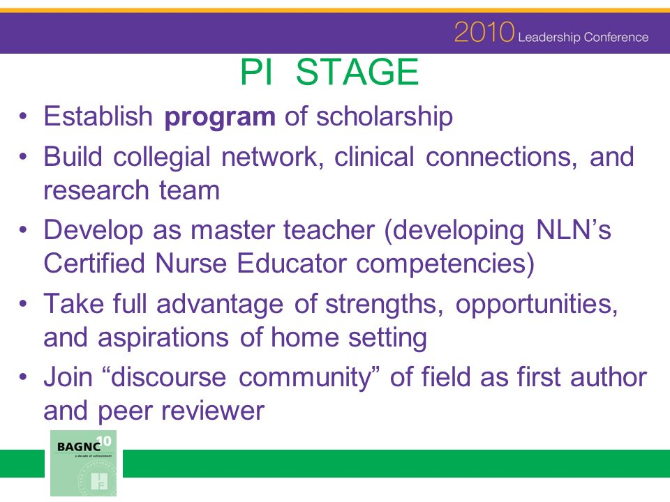 PI STAGE Establish program of scholarship Build collegial network, clinical connections, and research team Develop as master teacher (developing NLNs
