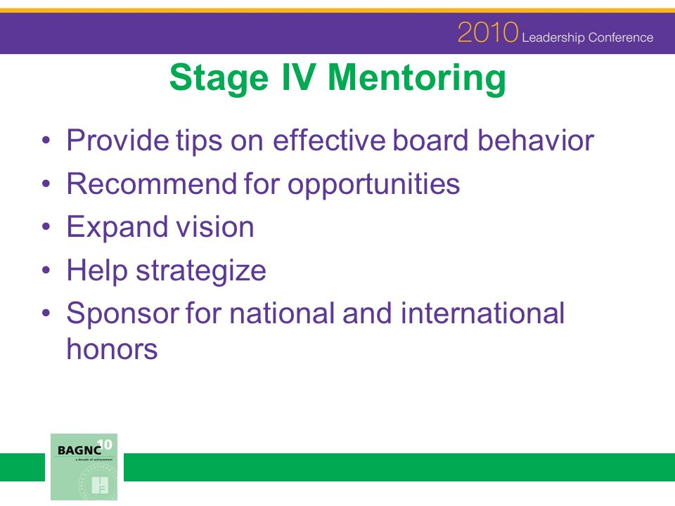 Stage IV Mentoring Provide tips on effective board behavior Recommend for opportunities Expand vision Help strategize Sponsor for national and interna
