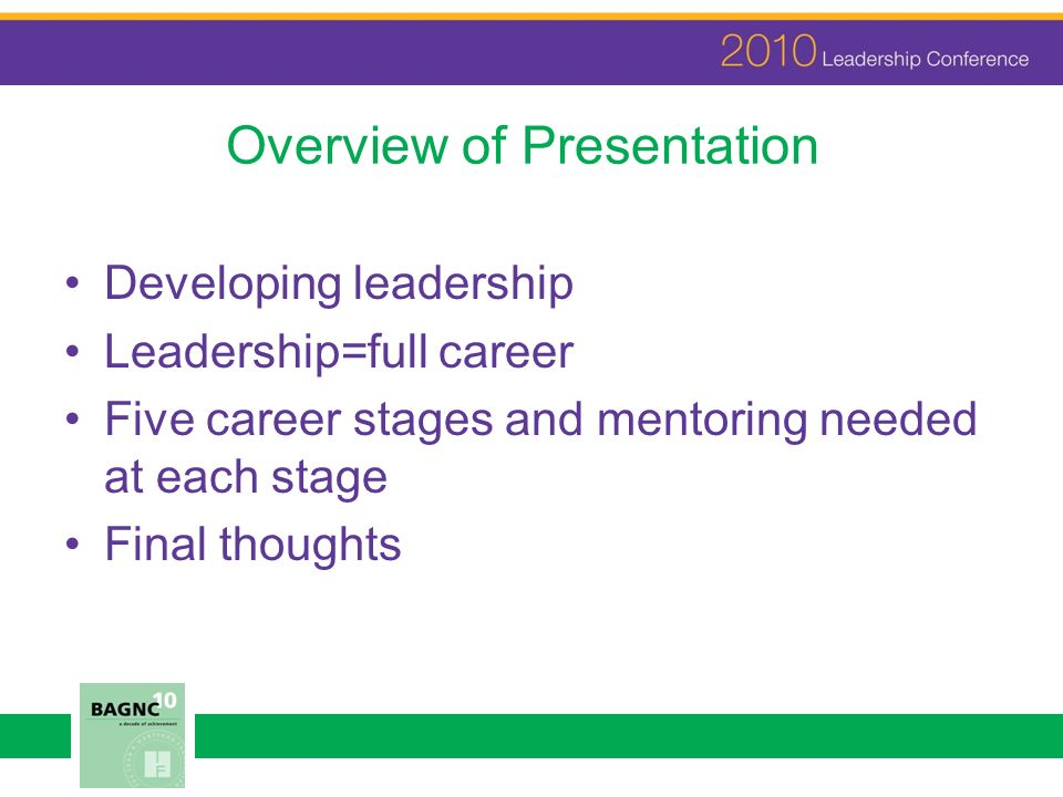 Overview of Presentation Developing leadership Leadership=full career Five career stages and mentoring needed at each stage Final thoughts