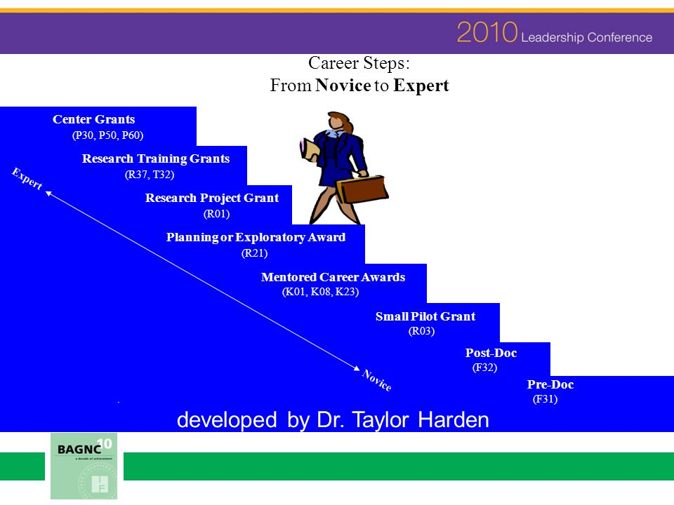 Career Steps: From Novice to Expert Center Grants (P30, P50, P60) Research Training Grants (R37, T32) Research Project Grant (R01) Planning or Explora